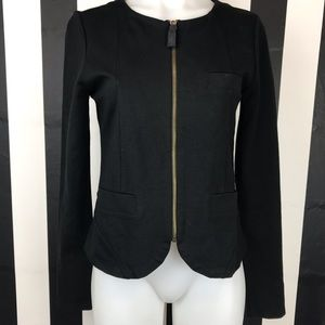 Juicy Couture Black Collarless Zip Up Blazer
